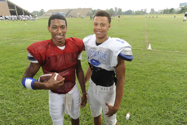 West Orange-Stark quarterback Reggie Garrett, left,  and receiver Mark Roberts are one of the area's leading quarterback/receiver combinations.  Tuesday, August, 17, 2010 Valentino Mauricio/The Enterprise / Beaumont
