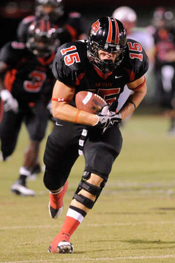 Kirbyville tight end Houston Vanya completes a recepton for a 72-yard touchdown run against Bridge C
