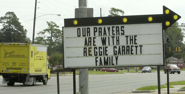 Signs are visible around Orange and West Orange with thoughts and prayers for the family of Reggie Garrett, the WO-S quarterback who died Friday night.  This one was on 16th Street in Orange.   Dave Ryan/The Enterprise