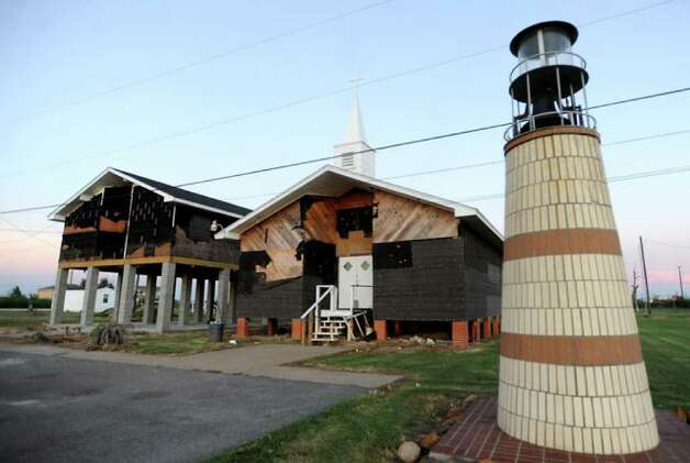 Before Hurricane Rita devastated the area, there were five churches in Sabine Pass. Since Hurricane Ike rolled through, only 2 remain. Several churches are sharing the First Baptist Church's facilities for fellowship and worship as they wait for their facilities to be rebuilt. Tammy McKinley/The Enterprise / Beaumont