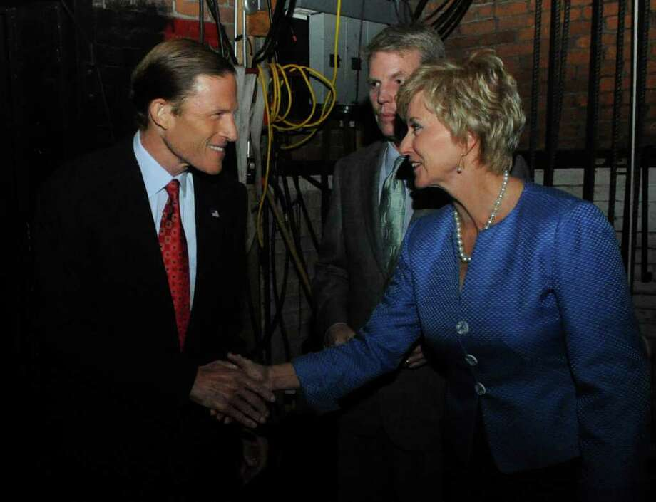 U.S. Senate candidates, Democrat Richard Blumenthal, left, and Republican Linda McMahon, shake hands prior to a debate at the Garde Arts Center in New London, Conn., Tuesday, Oct. 12, 2010. Blumenthal, the Connecticut Attorney General, is battling the former World Wrestling Entertainment CEO McMahon for the senate seat being vacated by the retiring Sen. Chris Dodd. (AP Photo/Dana Jensen, Pool) Photo: AP