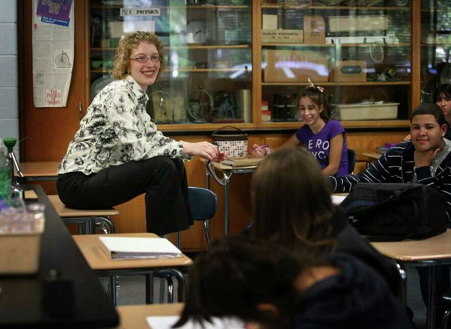 Connecticut's Teacher of the Year Kristen Record talks with her freshman Studies in Science class at Bunnell High School in Stratford on Tuesday, October 12, 2010. Photo: Brian A. Pounds / Connecticut Post