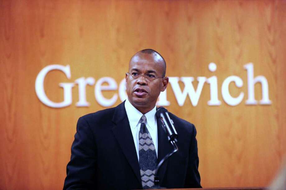 Democratic candidate for the 151st state House of Representative seat, Claude Johnson, during Democratic forum at Greenwich Town Hall, Wednesday night, Oct. 13, 2010. Photo: Bob Luckey / Greenwich Time
