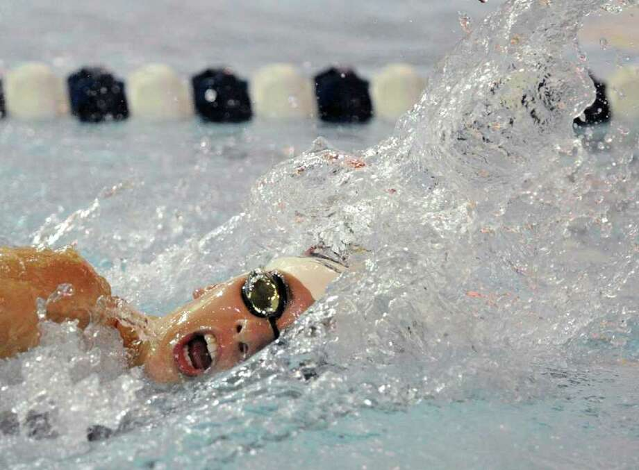 Jesse Evans of the Greenwich High School girls swim team competes in the 200 meter freestyle event against New Canaan High School at the YMCA of New Canaan, Wednesday afternooon, Oct. 13, 2010. Photo: Bob Luckey