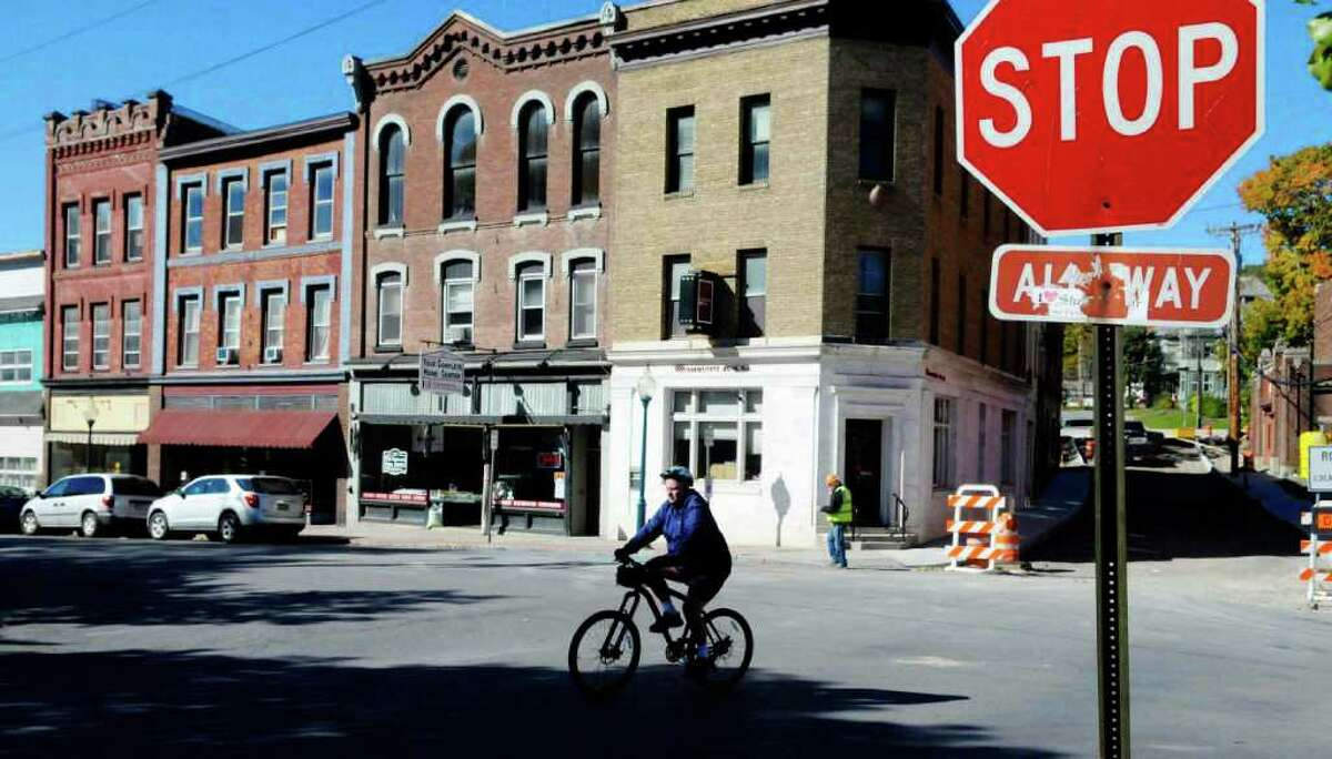 A view of Main Street in Whitehall, which claims to be the birth of the U.S. Navy. (Paul Buckowski / Times Union)