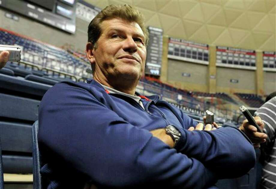 Connecticut head coach Geno Auriemma is interviewed during the team's NCAA college basketball media day in Storrs, Conn., Wednesday, Oct. 13, 2010. (AP Photo/Jessica Hill) Photo: Jessica Hill, AP