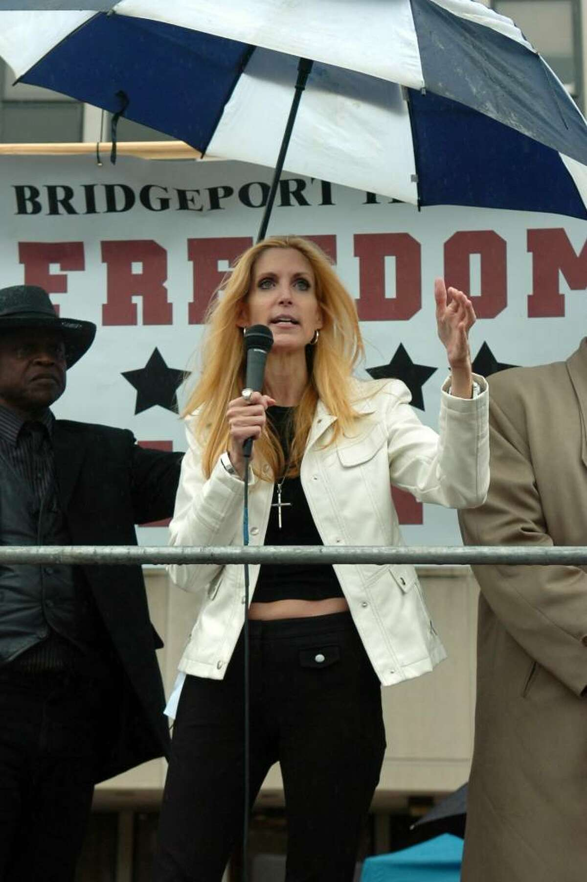 Conservative political commentator Ann Coulter speaks during the Tea Party Express rally on Baldwin Plaza, in Bridgeport, Conn. on Friday Sept. 11th, 2009.