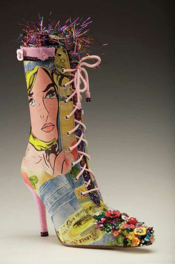 """Don't Cry Lois Lane,"" by Paula Rasmus-Dede. 2007. Manufactured boots, ultrasuede, beads, buttons, nymo thread, found objects. Image courtsey of artist. Photo by Clark James Mischler. / ????2007 Clark James Mishler"