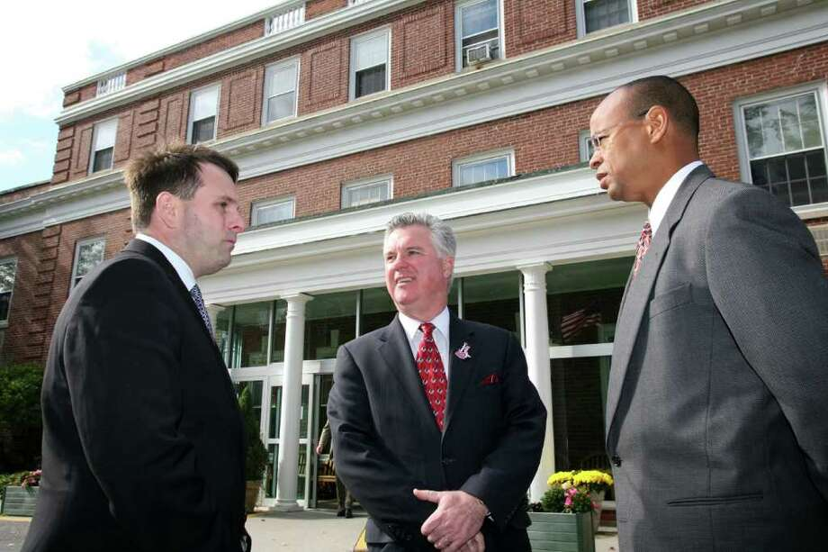 Speaker of the Connecticut House of Representatives Chris Donovan, center, was on hand Friday morning to tour the Nathaniel Witherell Rehabilitation and Nursing Center with Greenwich Selectman Drew Marzullo, left, and Claude Johnson, right, Democratic candidate for the 151st District. Photo: David Ames, David Ames/For Greenwich Time / Greenwich Time Freelance