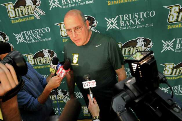 Siena coach Mitch Buonaguro fields questions about the upcoming basketball season during Media Day on Friday at Siena College. (Cindy Schultz / Times Union) Photo: Cindy Schultz