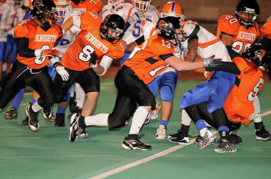 Stamford High School hosts Danbury High School in varsity football on Friday, October 15, 2010. Photo: Shelley Cryan / Shelley Cryan freelance; Stamford Advocate Freelance