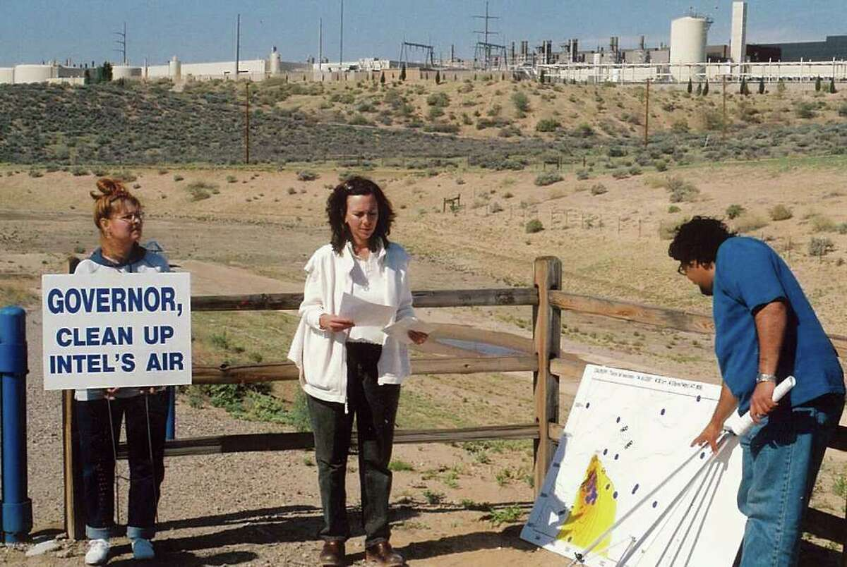 Residents for Clean Air and Water and Southwest Organizing Project hold a demonstration in front of the Intel factory in Rio Rancho, N.M.,. circa 1999. (Courtesy Corrales Comment)