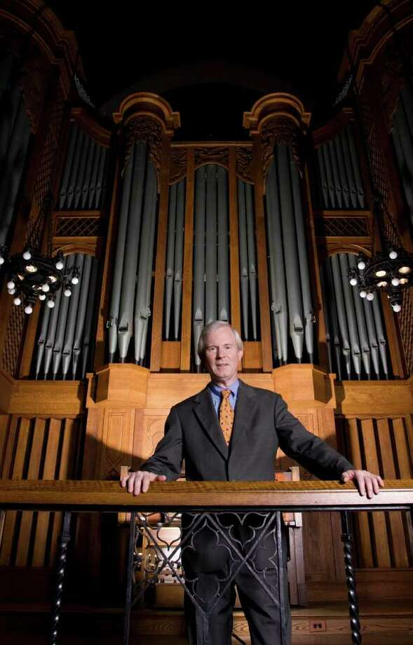 John Rose with organ at Trinity College in Hartford, Conn. (Photo by Nate Howe) Photo: Unknown