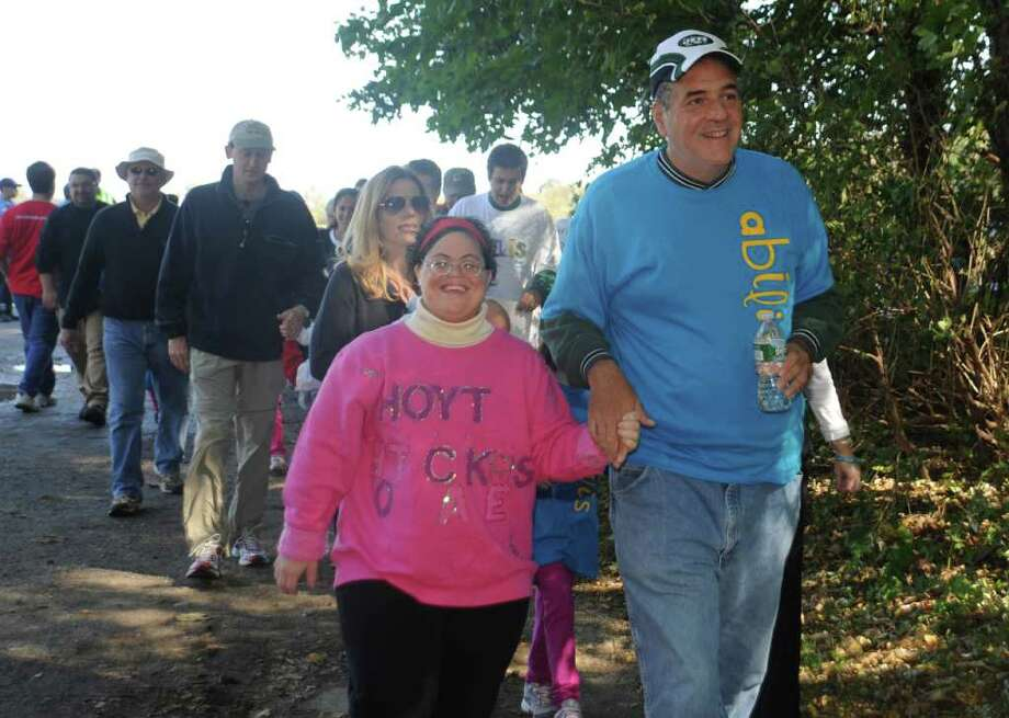 Wendy Sullivan, left and Ralph Fico at the 5th Annual Walk in the Park for Abilis, on Sunday, Oct. 17, 2010. Photo: Helen Neafsey / Greenwich Time