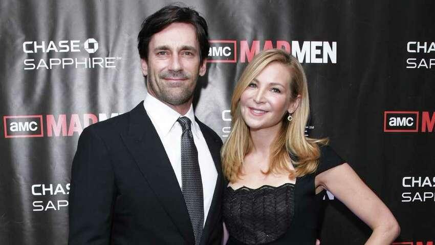 NEW YORK - OCTOBER 17: Actors Jon Hamm (L) and Jennifer Westfeldt attend the