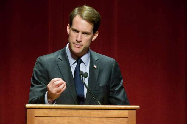 U.S. Rep. James Himes (D-Greenwich.), speaks before  First Lady Michelle Obama appeared with Connecticut Attorney General Richard Blumenthal, the Democratic candidate for U.S. Senate, at a campaign event at the Palace Theatre in Stamford, Conn. on Monday, Oct. 18, 2010. Photo: Dru Nadler / Stamford Advocate Freelance