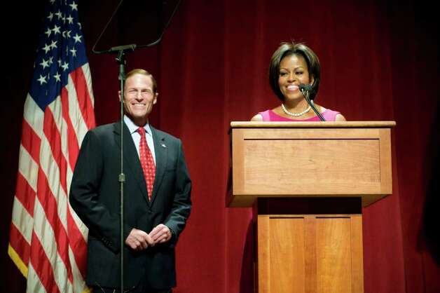 First Lady Michelle Obama appears with Connecticut Attorney General Richard Blumenthal, the Democratic candidate for U.S. Senate, at a campaign event at the Palace Theatre in Stamford, Conn. on Monday, Oct. 18, 2010. Photo: Dru Nadler / Stamford Advocate Freelance