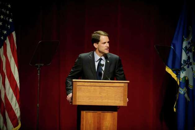 U.S. Rep James Himes (D-Greenwicht) speaks before First Lady Michelle Obama appeared with Connecticut Attorney General Richard Blumenthal, the Democratic candidate for U.S. Senate, at a campaign event at the Palace Theatre in Stamford, Conn. on Monday, Oct. 18, 2010. Photo: Dru Nadler / Stamford Advocate Freelance