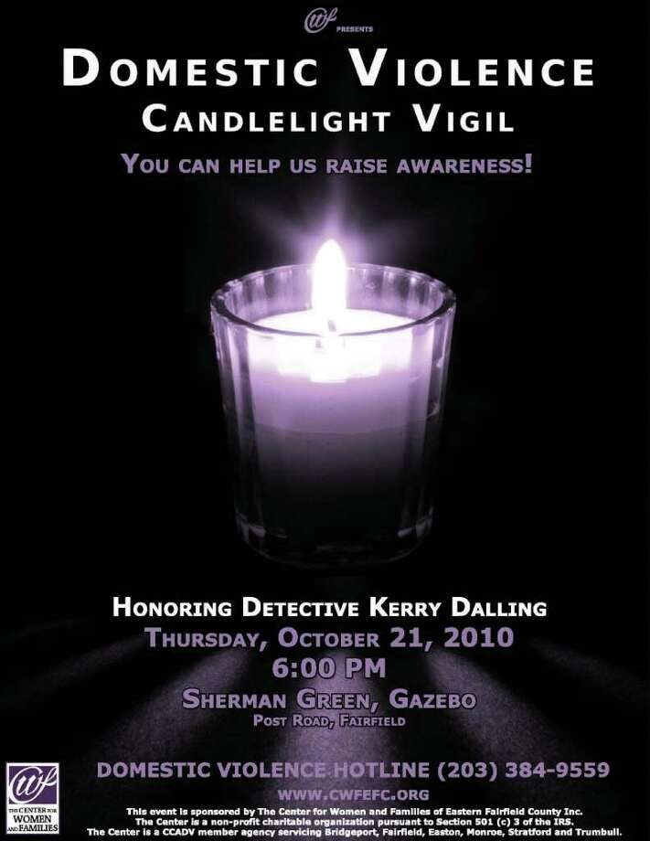 The poster for The Center for Women and Families' Domestic Violence Candlelight Vigil, which is taking place at the Sherman Green in Fairfield on Oct. 21. The Bridgeport-based center recently opened up a satellite office in Fairfield. Photo: Kirk Lang / Fairfield Citizen