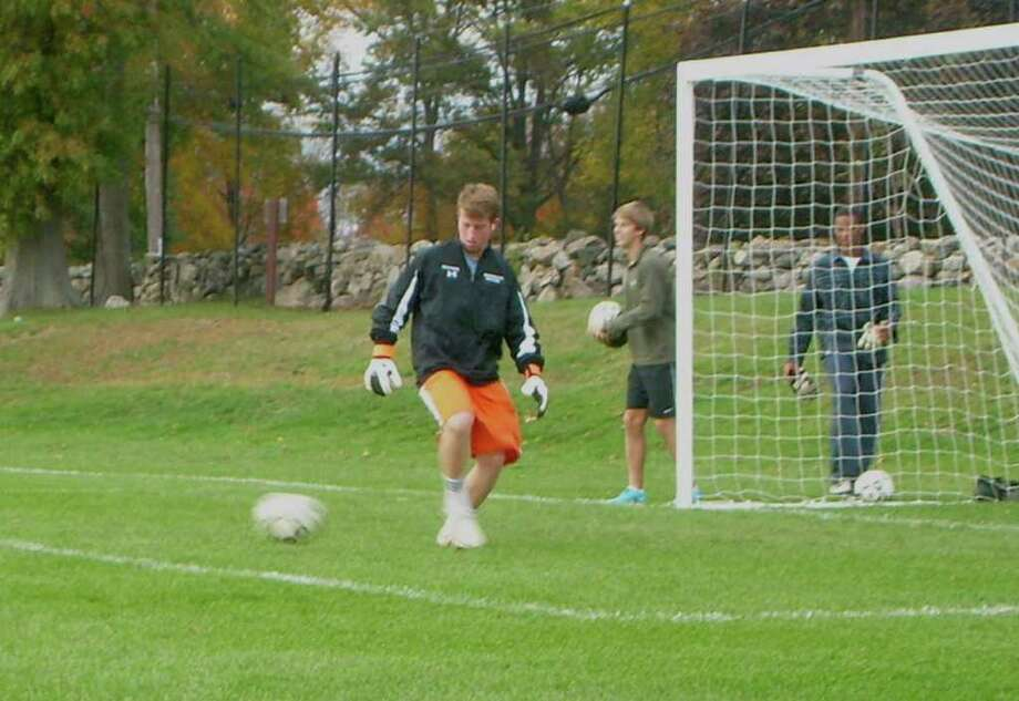 Brunswick goalkeeper David Better makes a stop during practice. A major part of the Bruins' success, Better has emerged as one of the top netminders in the Western New England Prep School Soccer Association. Photo: Contributed Photo / Greenwich Citizen