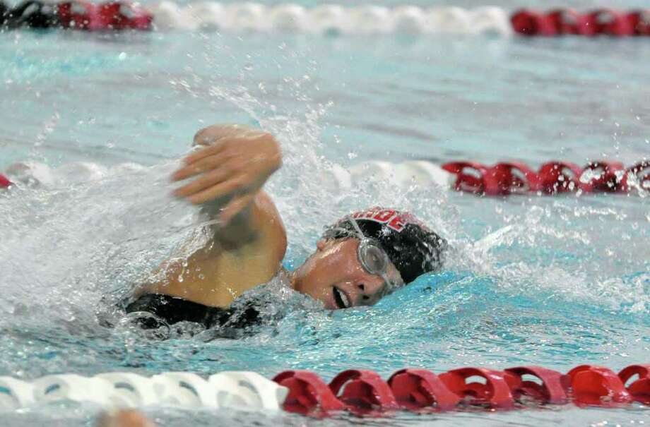 Fairfield Warde's Elizabeth Watson competes in the 200 Freestyle event during the girls swim meet against Fairfield Ludlowe at the Fairfield University Rec Plex on Monday, Oct. 18, 2010. Photo: Amy Mortensen / Connecticut Post Freelance