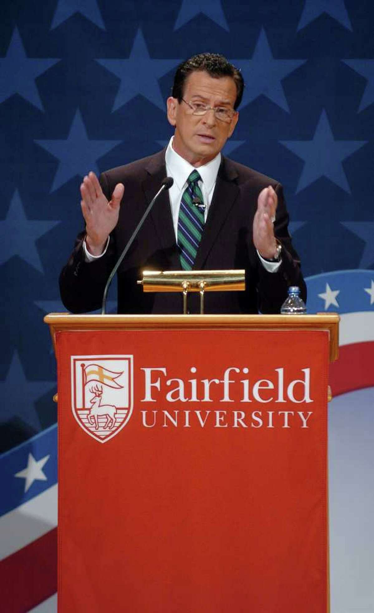 Democratic candidate Dan Malloy answers a question, during the gubernatorial debate at the Regina Quick Center for the Arts at Fairfield University in Fairfield, Conn. on Tuesday October 19, 2010.