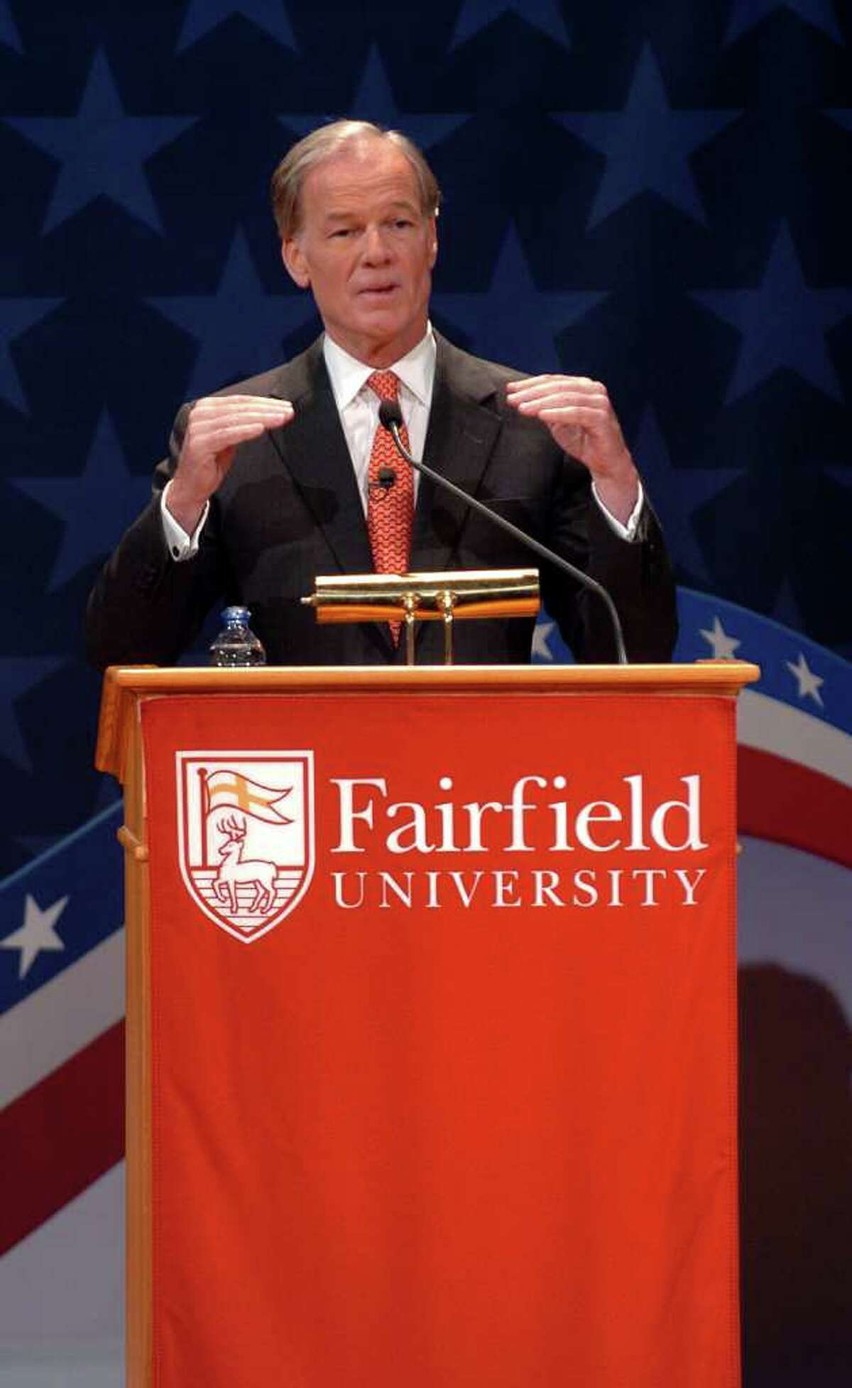 Republican candidate Tom Foley answers a question, during the gubernatorial debate at the Regina Quick Center for the Arts at Fairfield University in Fairfield, Conn. on Tuesday October 19, 2010.
