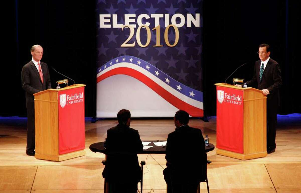 The gubernatorial debate between republican Tom Foley, left, and democrat Dan Malloy, right, at the Regina Quick Center for the Arts at Fairfield University in Fairfield, Conn. on Tuesday October 19, 2010.