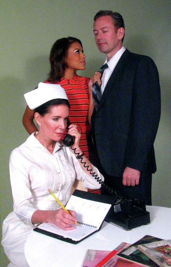 "The cast of Capital Rep's production of ""Cactus Flower"" includes, from left to right, Lois Robbins as Stephanie Dickinson, Toni Trucks as Toni Simmons and Don Noble as Dr. Julian Winston. (Carl Dietz)"