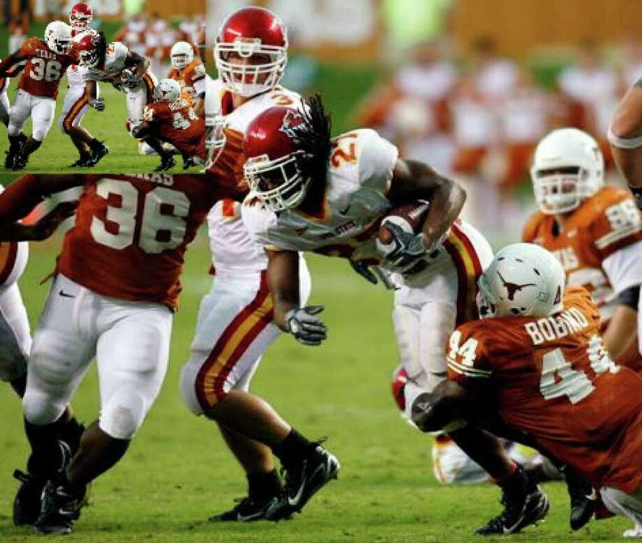 When the Texas Longhorns take on Iowa State this Saturday in Austin, Dish Network subscribers will probably be left looking at a blank screen as an ongoing contract dispute is keeping Fox Cable Networks off Dish. Seen here is file photo from a 2006 game when the Cyclones visited Austin.