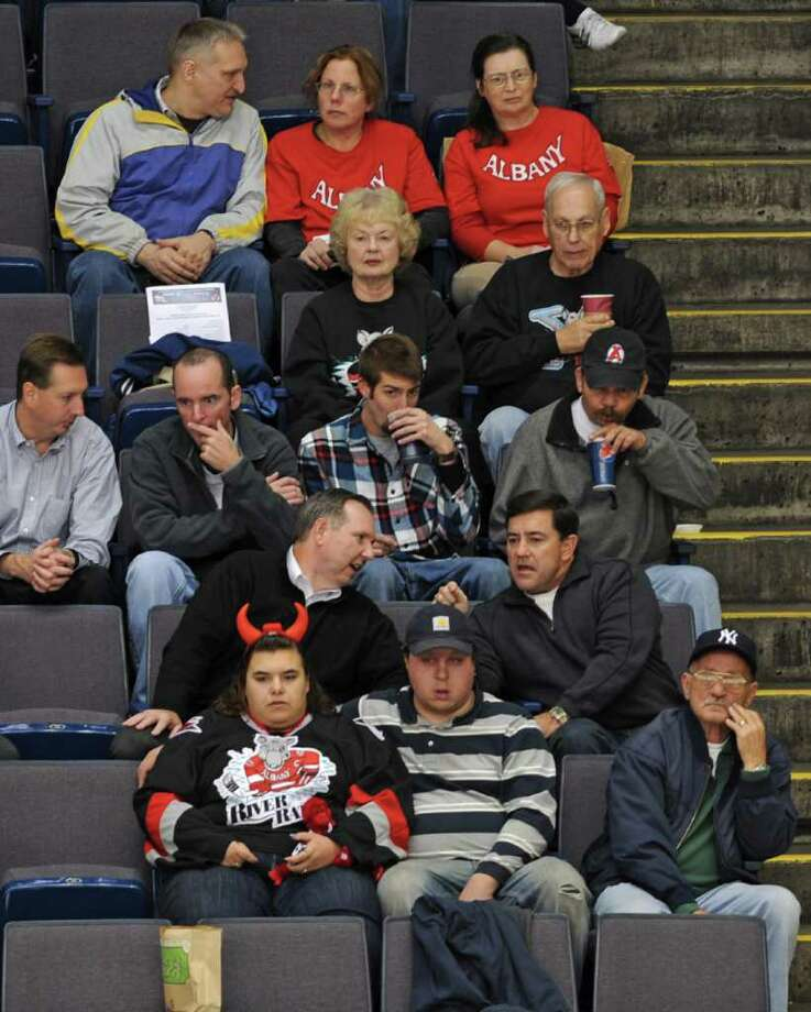 Fans out for the Albany Devils game still wore River Rats jerseys. Photo: Lori Van Buren