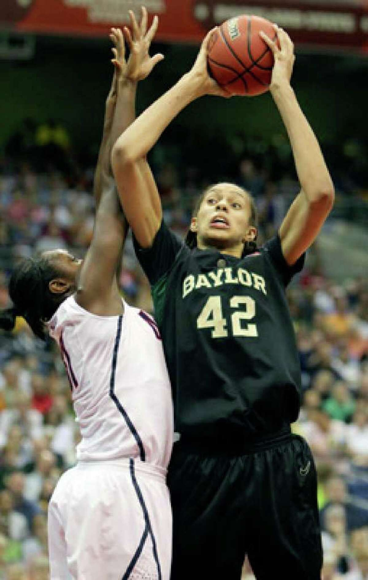 Baylor's Brittney Griner goes to the basket in the first half of the Bears' semifinal game at the Final Four last season.