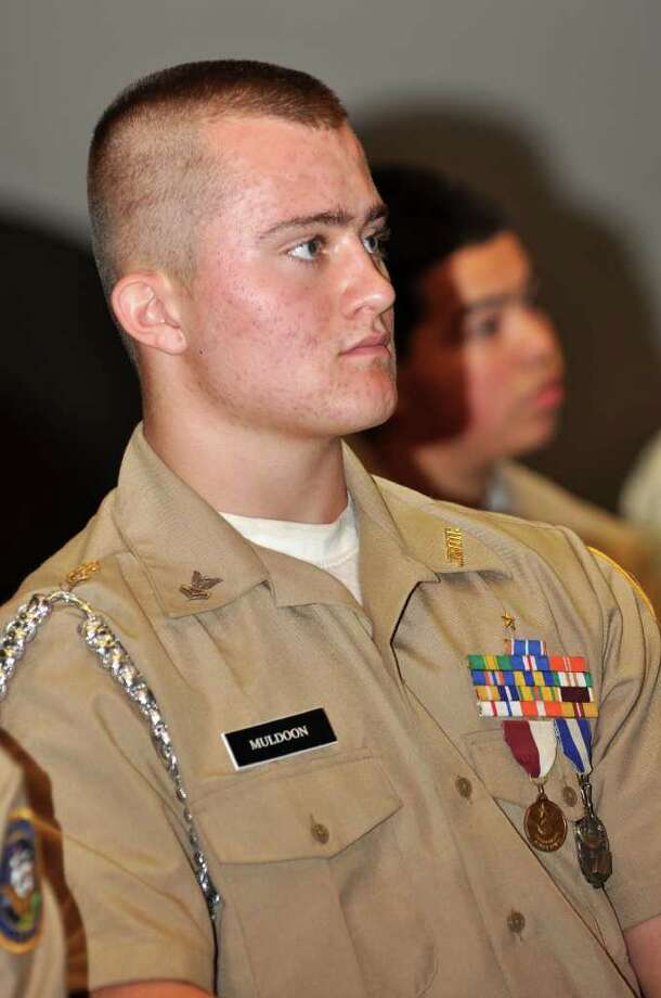 Cadet Justin Muldoon, who attended a two week leadership academy and graduated Basic Leadership Training, was recognized during a ceremony for the Brien McMahon High School Navy Junior Reserve Officer Training Corps on Friday, Oct. 15, 2010. Photo: Amy Mortensen / Connecticut Post Freelance