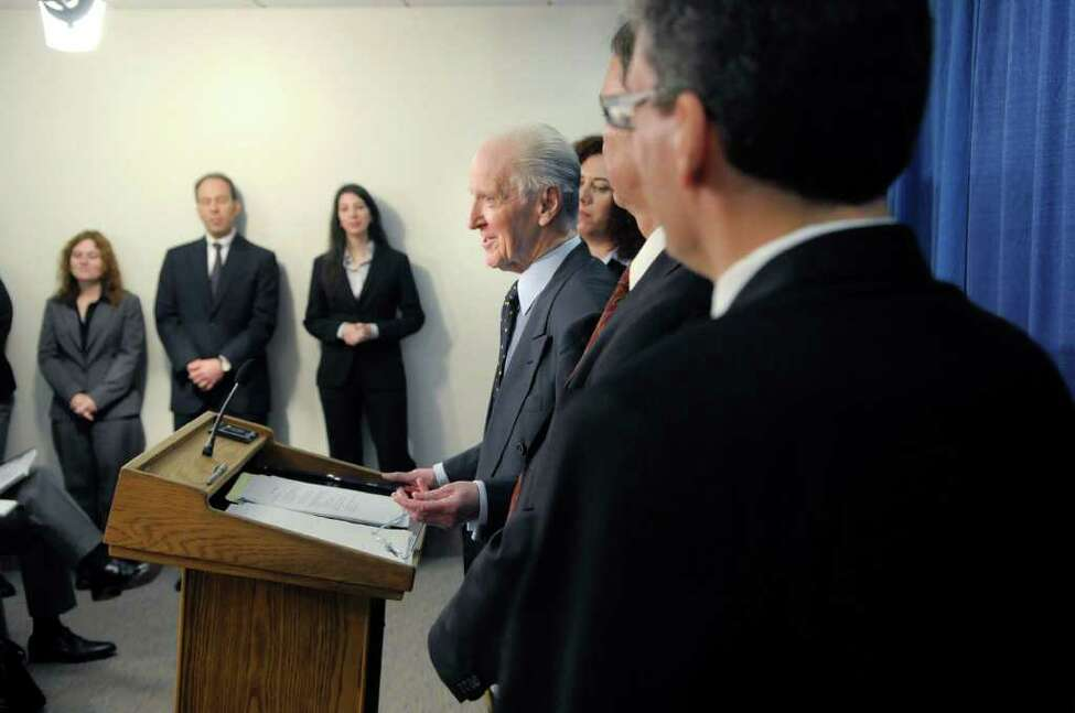State Inspector General Joseph Fisch addresses a news conference Thursday at the Legislative Office Building in Albany. (Paul Buckowski / Times Union)