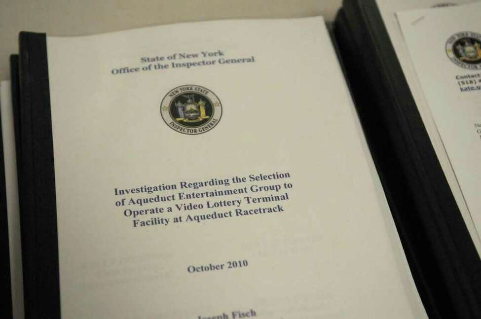 Copies of the scathing report from state Inspector General Joseph Fisch. (Paul Buckowski / Times Union)