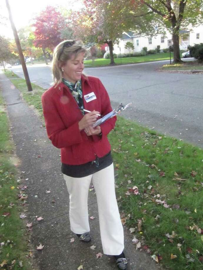 Kim Fawcett, state representative for the 133rd Assembly District, walked door-to-door on Partridge Lane on Tuesday afternoon. She has been making personal connections since May. Photo: Kirk Lang / Fairfield Citizen