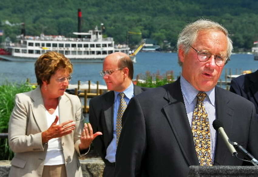New York State Department of Environmental Conservation Pete Grannis was terminated from his job Thursday after a bitter exchange of e-mails with a top adviser to Gov. Paterson. He appears in a file shot with state Sen. Betty Little, R-Queensbury,left, and Empire State Development Corp. Chairperson Dan Gundersen in 2007, announcing a $1 million grant by the state to promote smart growth in the Adirondacks. (JohnCarl D'Annibale / Times Union)