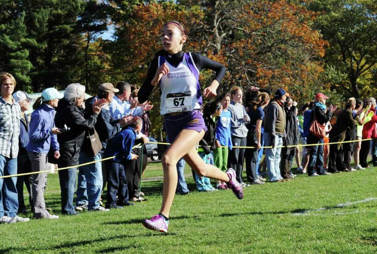 Westhill's Nicole Ambrosecchio finishes fourth in the FCIAC Cross Country Championships at Waveny Park in New Canaan Thursday, October 21, 2010.
