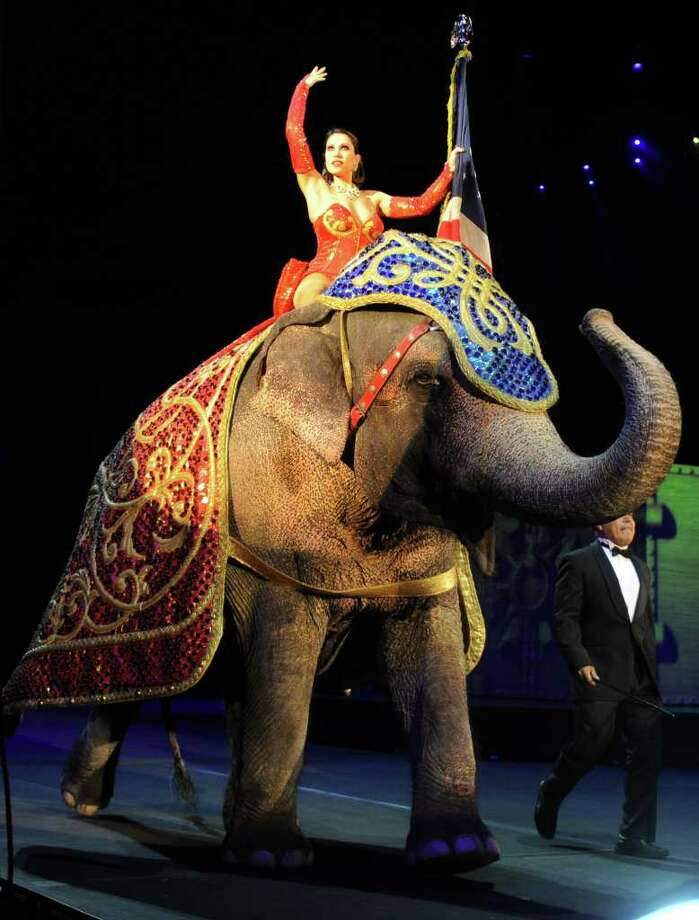 An elephant tours the arena during the national anthem played during the Ringling Brothers and Barnum and Baily circus at the Arena at Harbor Yard on Thursday, October 21, 2010. Photo: Lindsay Niegelberg / Connecticut Post
