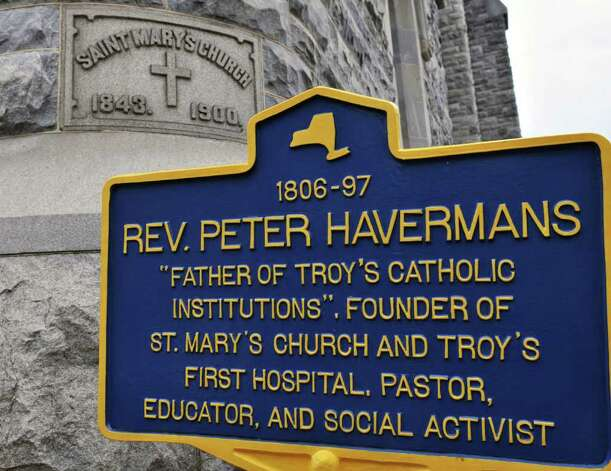 Historic marker outside the former St. Mary's church in Troy Thursday morning October21, 2010.  (John Carl D'Annibale / Times Union) Photo: John Carl D'Annibale / 00010703A