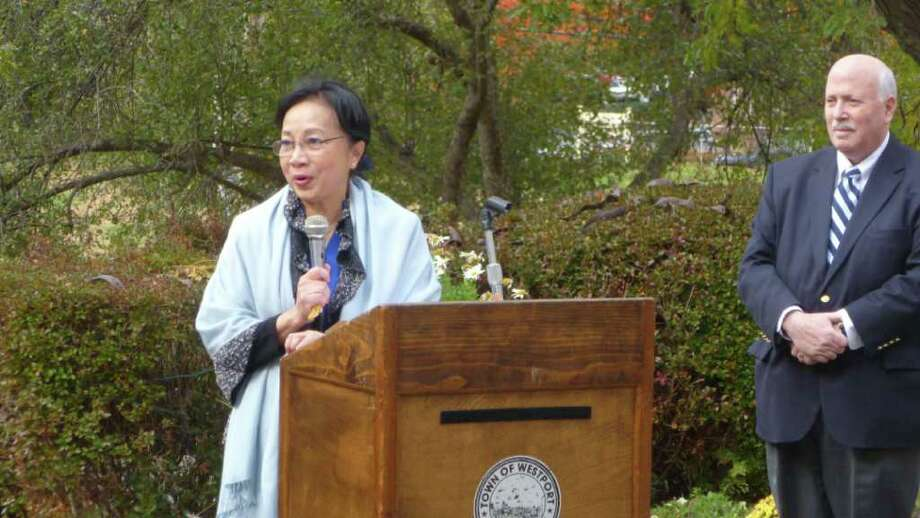 Westport resident Aye Aye Thant, the daughter of the third Secretary-General of the United Nations, U Thant, speaks at Westport Town Hall on United Nations Day, Oct. 22, 2010. Photo: Tom Cleary / Westport News