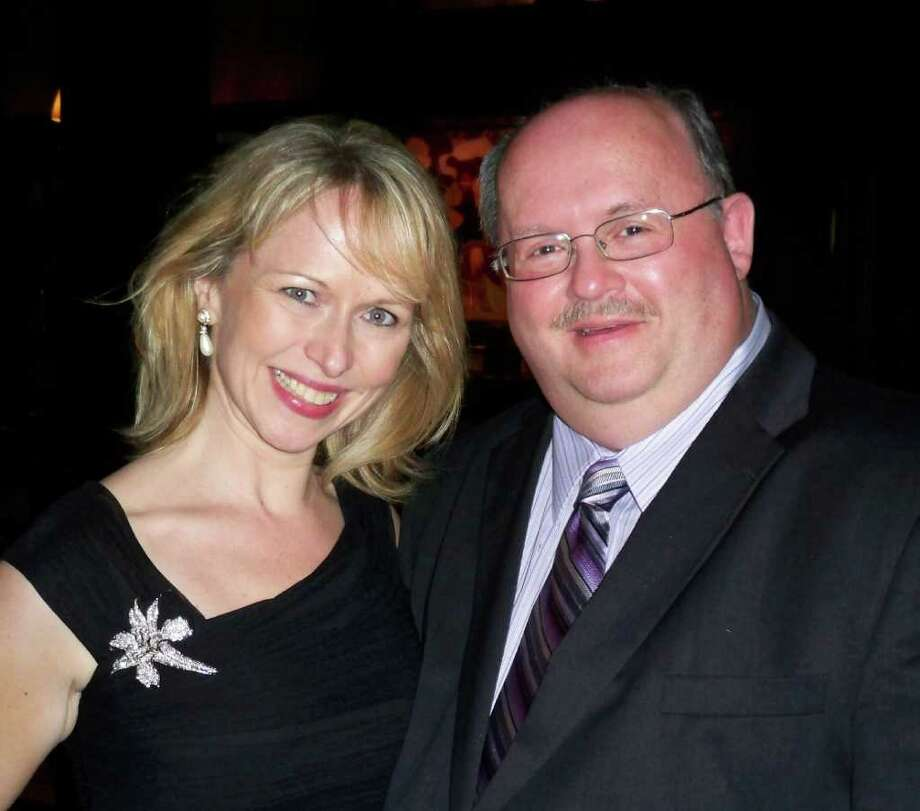 Manhattan singer Karen Oberlin, who recently performed at the Oak Room at the Algonquin Hotel in New York, will kick off the Ritz Supper Club season in Fairfield on Oct. 30. Above, the singer chats with Ritz producer Jeffrey C. Williams. Photo: CONTRIBUTED PHOTO