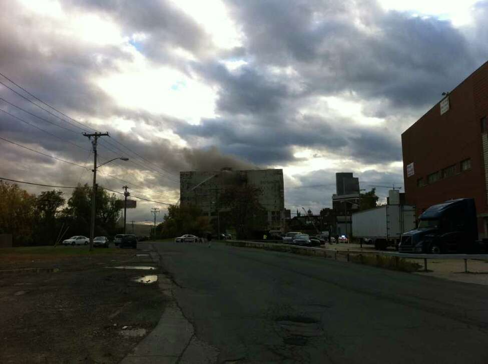 Albany's Central Warehouse burns Friday afternoon. (Courtesy Matt Baumgartner)