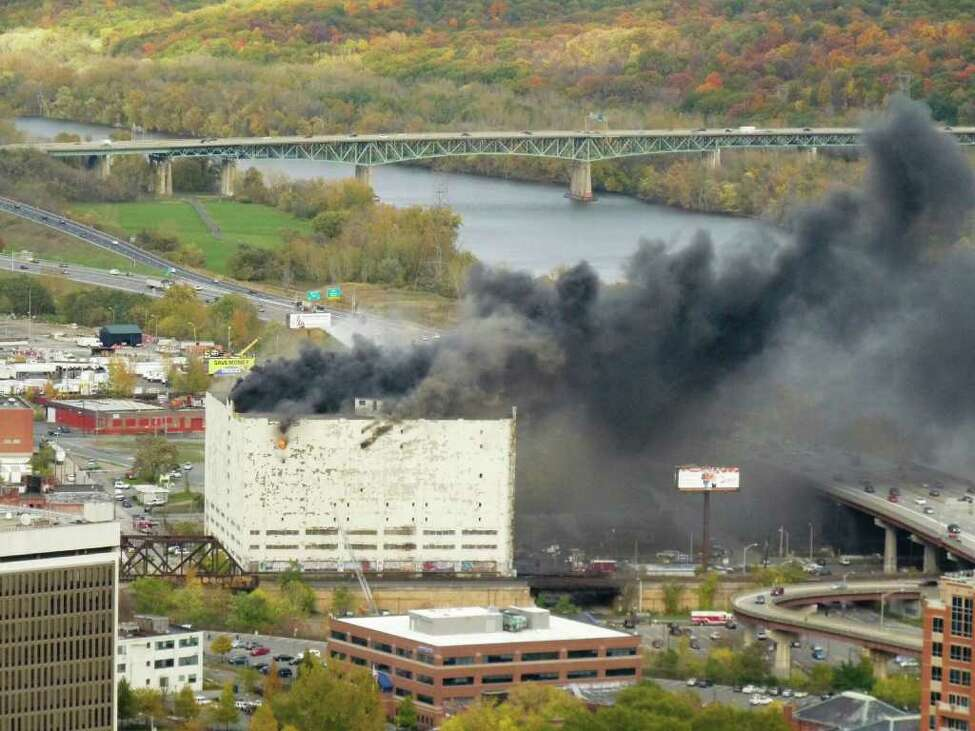 The Central Warehouse in downtown Albany burns in 2010. (Courtesy: Marc Prendergrast)