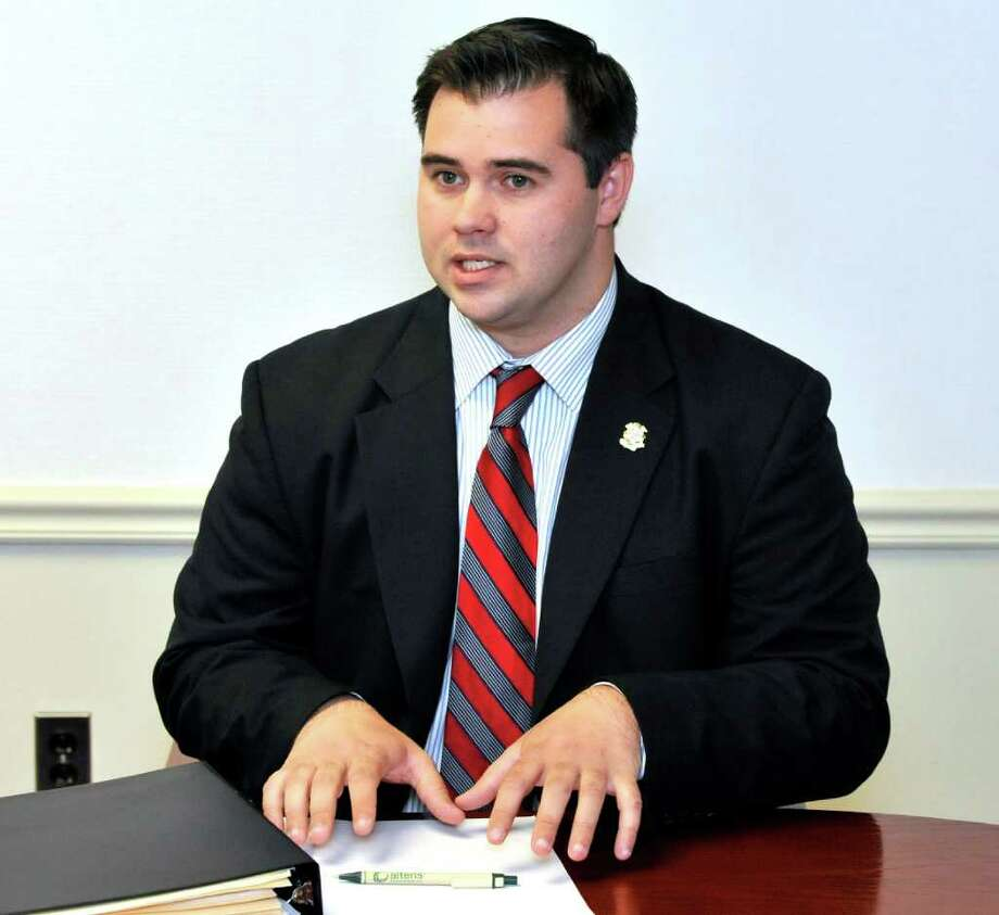 State Rep. Chris Lyddy (D), who is the incumbent candidate in the 106th District in Newtown talks with the News-Times editorial board, Thursday, Oct. 21, 2010. Photo: Michael Duffy / The News-Times
