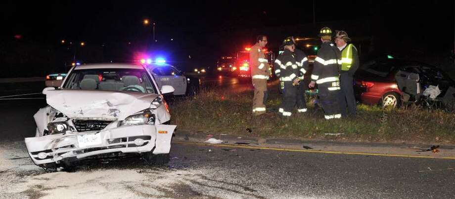 A two-car accident occurred around 7:30p.m. on Miry Brook Road, near the entrance ramp to Route 7 South Thursday, Oct. 22, 2010. Photo: Carol Kaliff / The News-Times