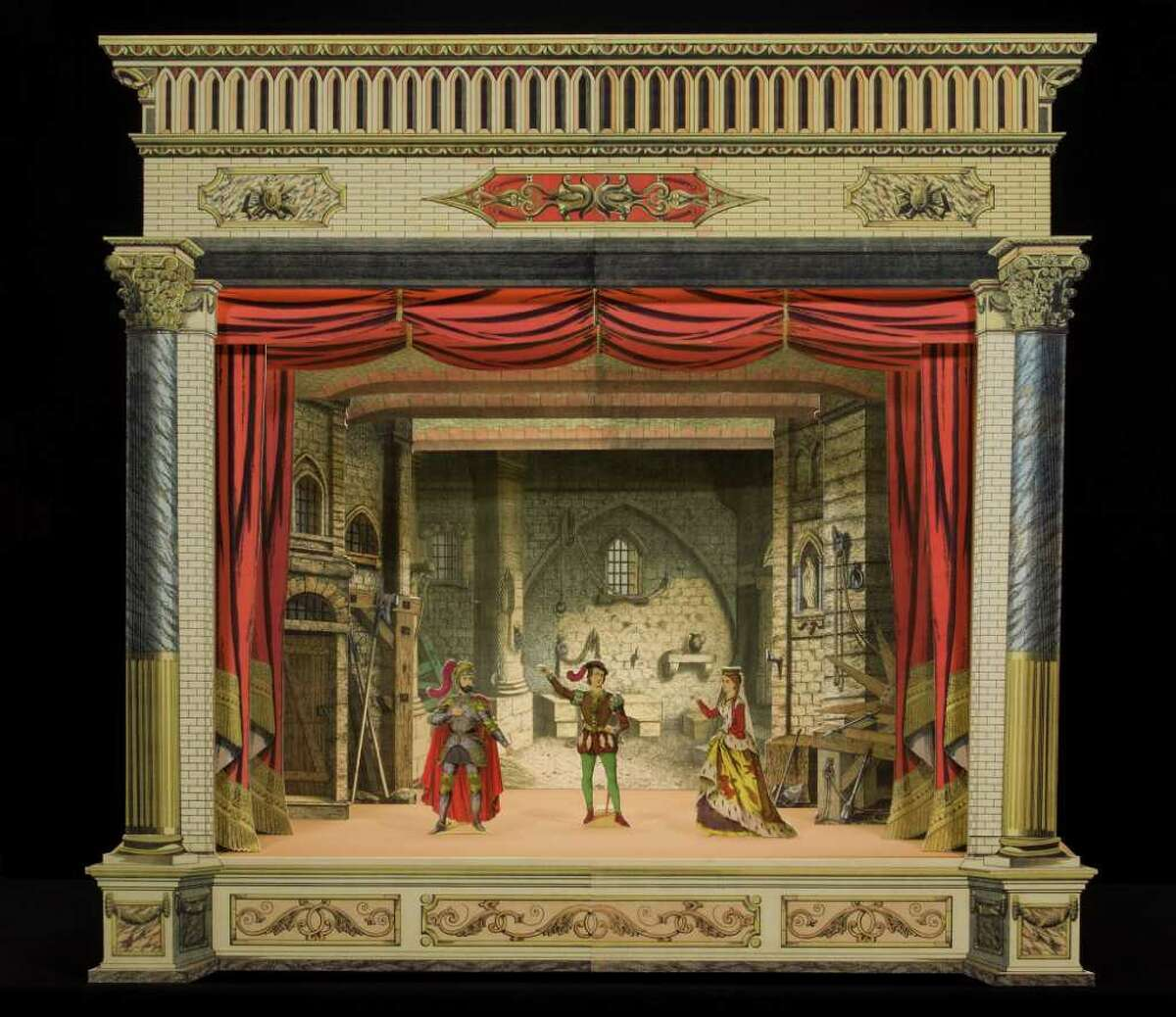 This 1885 paper theater by French publisher Imagerie Dehalt is on view at the Bruce Museum as part of
