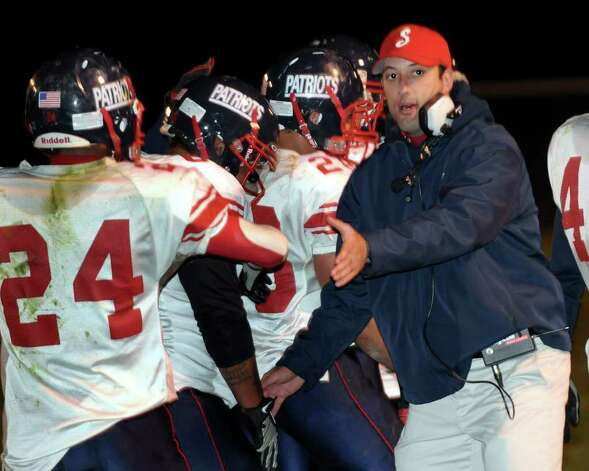 Schenectady coach Jim Kramer coaches his team against Ballston Spa. (Hans Pennink / Special to the Times Union) High School Sports Photo: Hans Pennink
