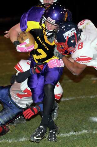 Ballston Spa's Jordan Davis, center, is defended by Schenectady's Rondu Martin, left, and Mister Taylor, right. (Hans Pennink / Special to the Times Union) Photo: Hans Pennink