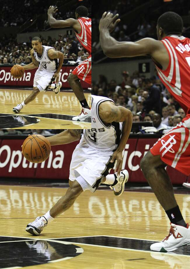 Spurs' guard George Hill (left) attempts to dribble around the Rockets' Patrick Patterson in Thursday's preseason game.